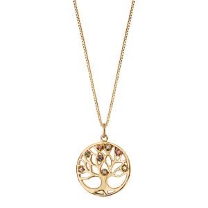 Collier en plaqué or chaîne avec pendentif rond arbre de vie pierres multi couleurs 42+3cm - Vue 2