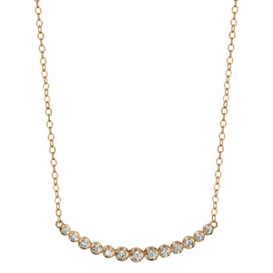 Collier en plaqué or chaîne avec pendentif suite courbée d\'oxydes blancs sertis clos - longueur 42cm + 3cm de rallonge - Vue 2
