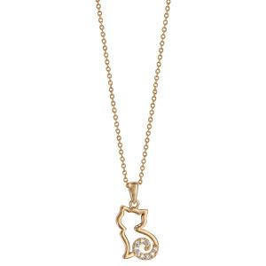 Collier en plaqué or chaîne avec pendentif chat ajouré stylisé avec queue ornée d\'oxydes blancs - longueur 40cm + 4cm de rallonge - Vue 2