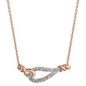 Collier en plaqué or rose chaîne avec pendentif goutte évidée ornée d\'oxydes blancs sertis et avec un élément tournant de chaque côté - longueur 42cm + 3cm de rallonge - Vue 2