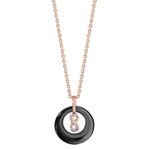 Collier en plaqué or rose pendentif rond céramique noire évidé avec infini oxydes blancs sertis 42+3cm - Vue 2