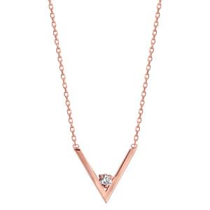 Collier en plaqué or rose chaîne avec pendentif forme V avec 1 oxyde blanc dans la pointe - longueur 39cm + 3cm de rallonge - Vue 2