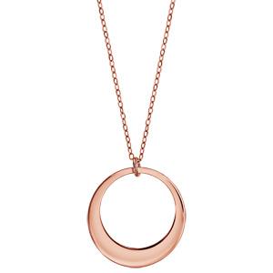 Collier en plaqué or rose chaîne avec pendentif 1 anneau à graver - longueur 40cm + 5cm de rallonge - Vue 2