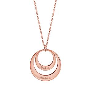 Collier en plaqué or rose chaîne avec pendentif 2 anneaux à graver - longueur 40cm + 5cm de rallonge - Vue 2