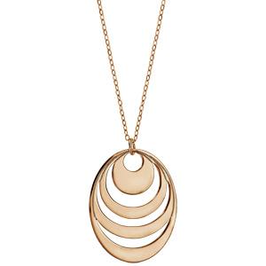 Collier en plaqué or chaîne avec pendentif 4 anneaux à graver - longueur 40cm + 5cm de rallonge - Vue 2