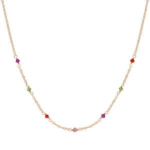 Collier en plaqué or pierres multicolores 42cm + 3cm - Vue 2