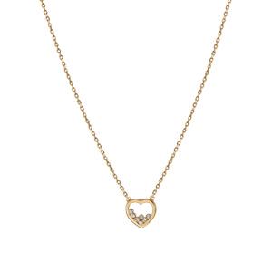 Collier en plaqué or coeur 7 oxydes blancs sertis 38cm + 4cm - Vue 2