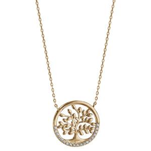 Collier plaqué or arbre de vie oxydes blancs sertis - longueur 40+5cm - Vue 2