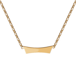 Collier en plaqué or mailles 1+1 avec plaque en forme de trapèze à graver - Vue 2