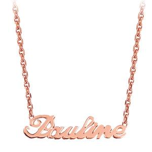 Collier en plaqué or rose chaîne maille forçat avec découpe anglaise 1 prénom - longueur 40cm + 3cm de rallonge - Vue 2