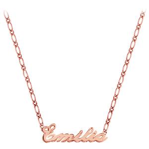Collier en plaqué or rose chaîne mailles 1+1 largeur 2mm avec découpe anglaise 1 prénom - longueur 40cm + 3cm de rallonge - Vue 2