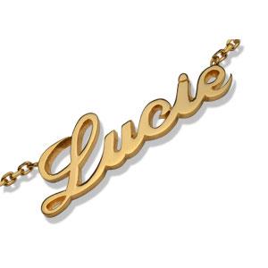 Collier en plaqué or chaîne maille forçat avec découpe anglaise 1 prénom - longueur 40cm - Vue 2