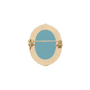 Broche en plaqué or Camée fond bleu 30x25mm - Vue 2