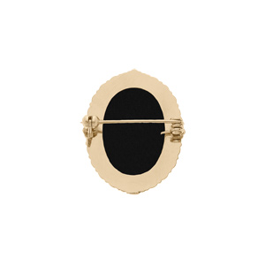 Broche en plaqué or Camée fond noir 30x25mm - Vue 2