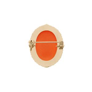 Broche en plaqué or Camée fond rouge 30x25mm - Vue 2