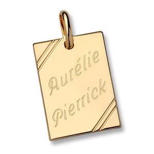 Pendentif en plaqué or plaque G.I. rectangulaire à graver avec striures dans 2 angles - dimensions 38mm X 23mm - plaque fine - Vue 2