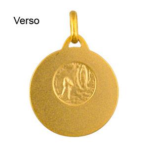 Pendentif médaille en plaqué or vierge Marie en relief et bord brillant - Vue 2