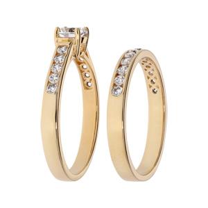 Bague en plaqué or grande taille double anneau avec rail pierres blanches et 1 solitaire blanc - Vue 2