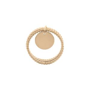 Bague en plaqué or triple anneaux boules avec pampille lisse - Vue 2
