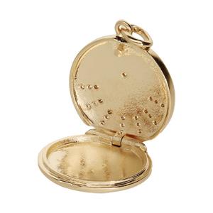 Pendentif en plaqué or rond avec oxydes blancs sertis - Vue 2