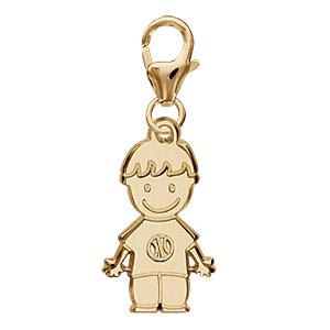 Pendentif en plaqué or petit garçon sur mousqueton - Vue 2