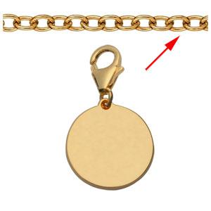 Pendentif en plaqué or médaille à graver sur mousqueton - plaque fine - Vue 2