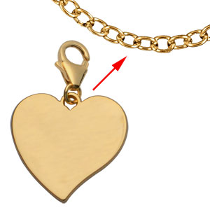 Pendentif en plaqué or coeur à graver sur mousqueton - plaque fine - Vue 2