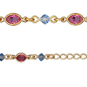 Collier tutti frutti bleu ciel et rose plaqué or - Vue 2