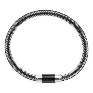 Bracelet en acier et PVD noir mélangé tressé pour charms et fermoir aimant et vis - longueur 21cm - Vue 2
