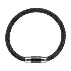 Bracelet en acier et PVD noir tressé pour charms et fermoir aimant et vis - longueur 21cm - Vue 2
