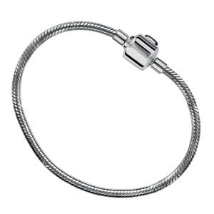 Bracelet en argent rhodié chaîne tube serpent pour charms - longueur 20cm fermoir haut de gamme - Vue 2