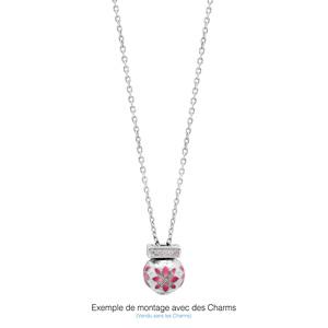 Collier en argent rhodié charms chaîne simple - longueur 47cm + 11cm de rallonge - Vue 2