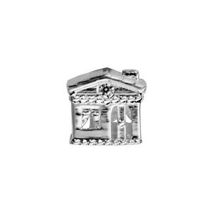 Charms Thabora en argent rhodié maison ornée d\'oxydes blancs - Vue 2