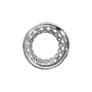 Charms Thabora séparateur en argent rhodié forme diabolo avec quadrillage ajouré - Vue 2