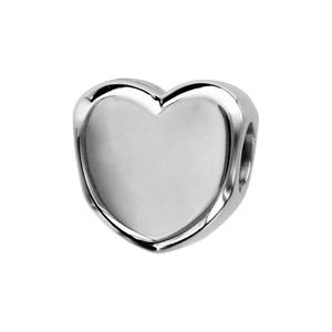 Charms Thabora en argent rhodié coeur lisse à graver - Vue 2
