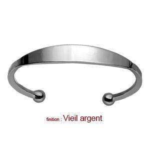 Bracelet jonc en argent esclave - grand modèle - Vue 3