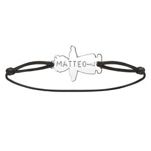 Bracelet en argent cordon noir coulissant avec petit garçon au milieu - Vue 3