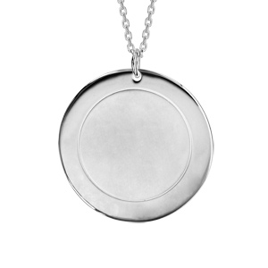 Collier en argent rhodié chaîne avec pendentif rond vierge prénom à graver longueur 40+5cm - Vue 3