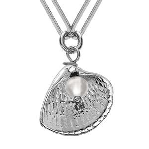 Collier en argent rhodié chaîne avec pendentif coquillage et Pierre de Lune 38+5cm - Vue 3