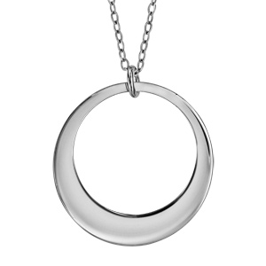 Collier en argent rhodié chaîne avec pendentif 1 anneau à graver - longueur 40cm + 5cm de rallonge - Vue 3