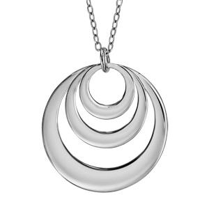 Collier en argent chaîne avec pendentif 3 anneaux à graver - longueur 40cm + 5cm de rallonge - Vue 3