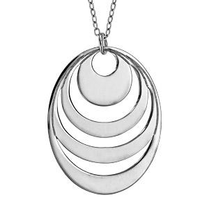 Collier en argent chaîne avec pendentif 4 anneaux à graver - longueur 40cm + 5cm de rallonge - Vue 3