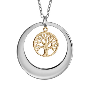 Collier en argent rhodié avec Pendentif anneau ajouré et arbre de vie en dorure jaune 40+5cm à graver 1 ou 2 prénoms - Vue 3
