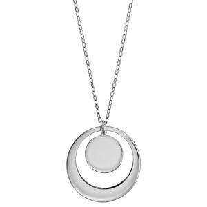 Collier en argent rhodié chaîne avec pendentif anneau et médaille à graver - longueur 40cm + 5cm de rallonge - Vue 3