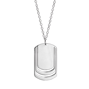 Collier en argent chaîne avec pendentif plaque G.I. à graver 3 prénoms - longueur 50cm + 5cm - Vue 3