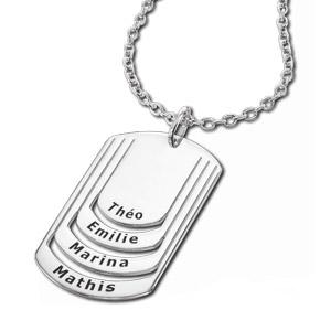 Collier en argent chaîne avec pendentif plaque G.I. à graver 4 prénoms - longueur 50cm + 5cm - Vue 3