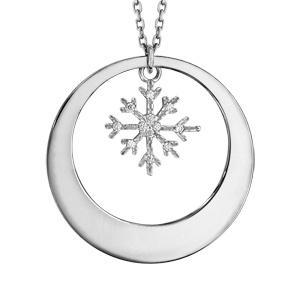 Collier en argent rhodié chaîne avec pendentif anneau à graver et flocon de neige orné d\'oxydes blancs sertis suspendu au milieu  - longueur 42cm + 3cm de rallonge - Vue 3