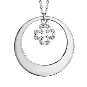 Collier en argent rhodié chaîne avec pendentif anneau à graver et trèfle à 4 feuilles orné d\'oxydes blancs sertis suspendu au milieu  - longueur 42cm + 3cm de rallonge - Vue 3