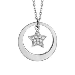 Collier en argent rhodié chaîne avec pendentif anneau à graver et étoile pavée d\'oxydes blancs sertis suspendu au milieu  - longueur 40cm + 5cm de rallonge - Vue 3