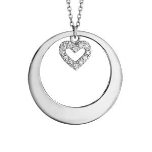 Collier en argent rhodié chaîne avec pendentif anneau à graver et coeur orné d\'oxydes blancs sertis suspendu au milieu  - longueur 42cm + 3cm de rallonge - Vue 3
